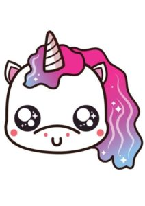 cabeza de unicornio kawaii