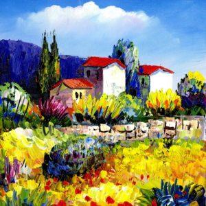 colorido paisaje para pintar al oleo