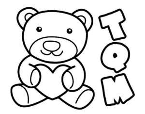 dibujo de oso con corazón