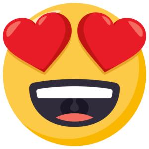 emoji ojos con corazones