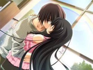 imagen de pareja de animes besándose