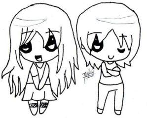 kawaii hombre y mujer para dibujar