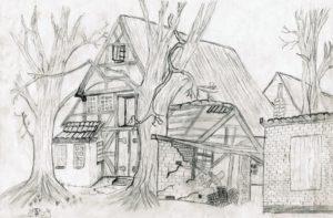 paisaje para dibujar con casa