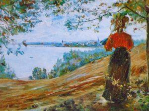 paisaje para pintar al oleo con mujer