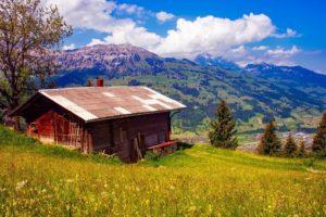 paisaje rural con casa