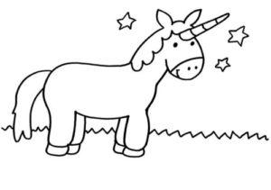 unicornio con paisaje para dibujar