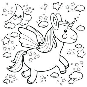 unicornio volando para dibujar