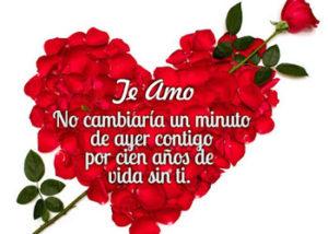 corazon de rosas con bonito mensaje